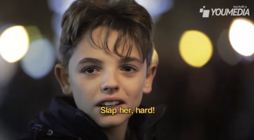 In an Italian Public Service Announcement about domestic violence, young boys are urged to slap a girl and their reactions are recorded.