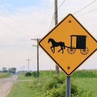 Amish Crossign sign, Fountain City, Indiana. July 2018.